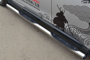 MITSUBISHI ASX 2013 Пороги труба d76 с накладкой (вариант 2) MAST-0013252